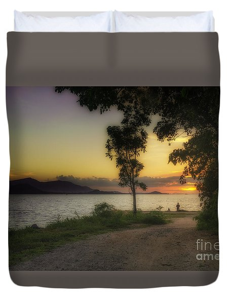 Watching Sunset Duvet Cover