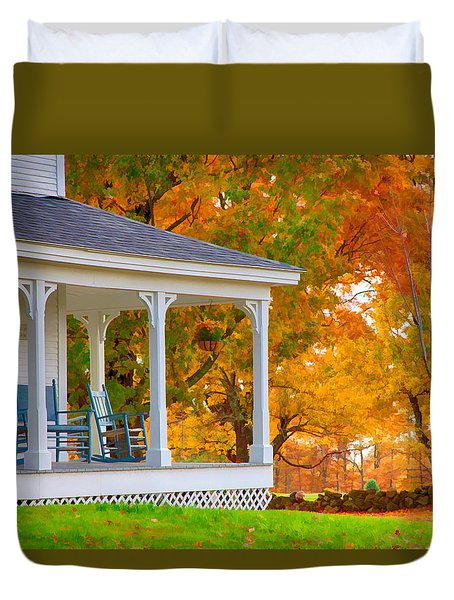Duvet Cover featuring the photograph Watching The Autumn Leaves Fall by Jeff Folger