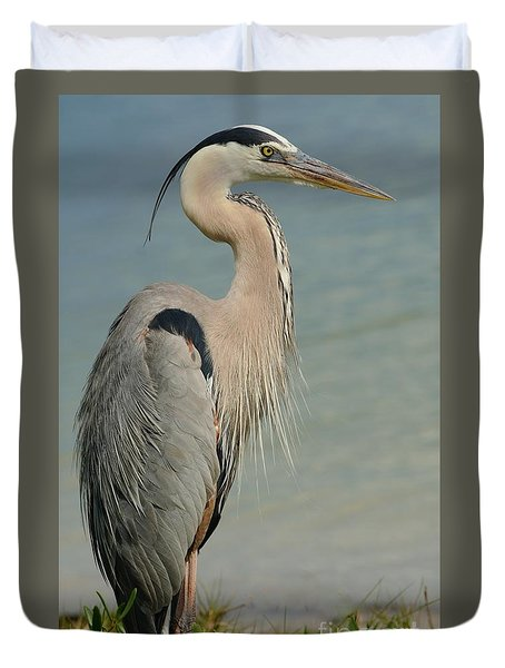 Watching The Shore Duvet Cover by Pamela Blizzard