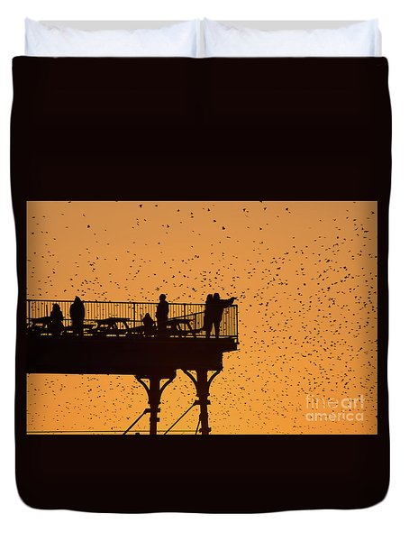 Watching The Sunset And Starlings In Aberystwyth Wales Duvet Cover