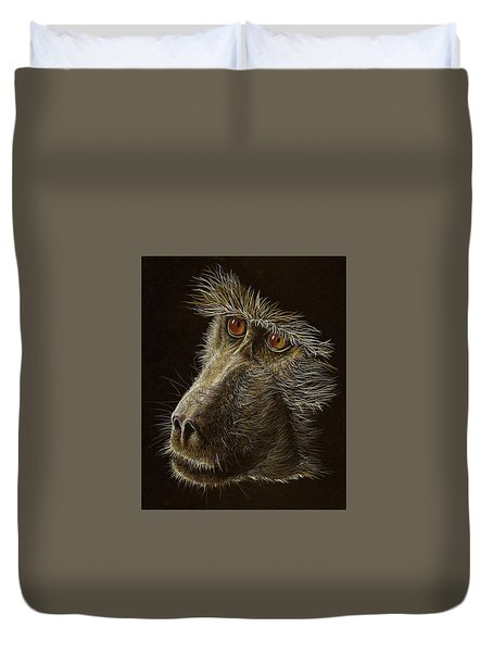 Duvet Cover featuring the drawing Watching You by Heidi Kriel