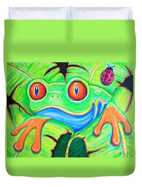 Watching You Red Eyed Tree Frog Duvet Cover by Nick Gustafson