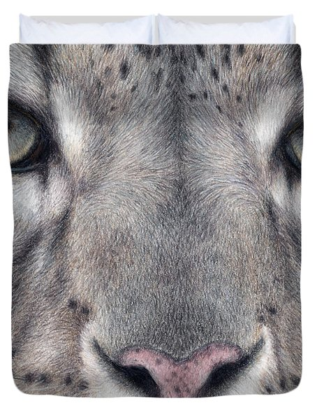 Watching You...snow Leopard Duvet Cover by Pat Erickson