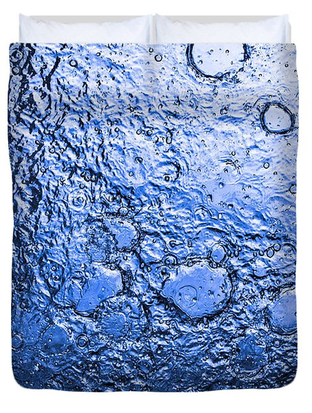 Water Abstraction - Blue Rain Duvet Cover by Alex Potemkin