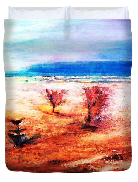 Duvet Cover featuring the painting Water And Earth by Winsome Gunning
