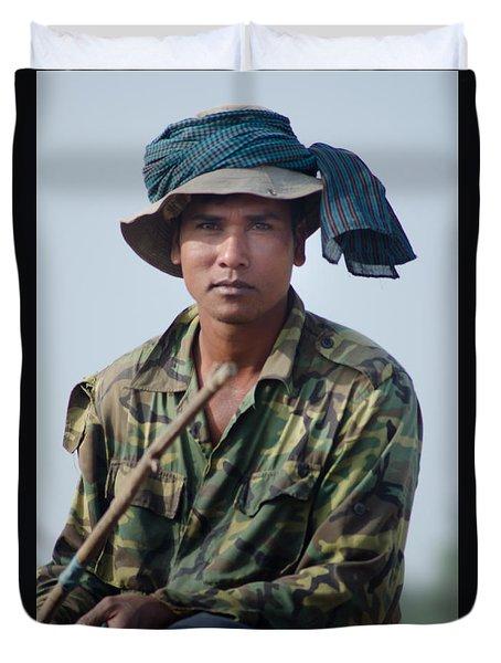 Water Buffalo Driver In Cambodia Duvet Cover