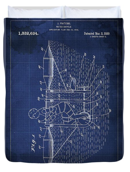 Water Bycicle Patent Blueprint Year 1920 Duvet Cover