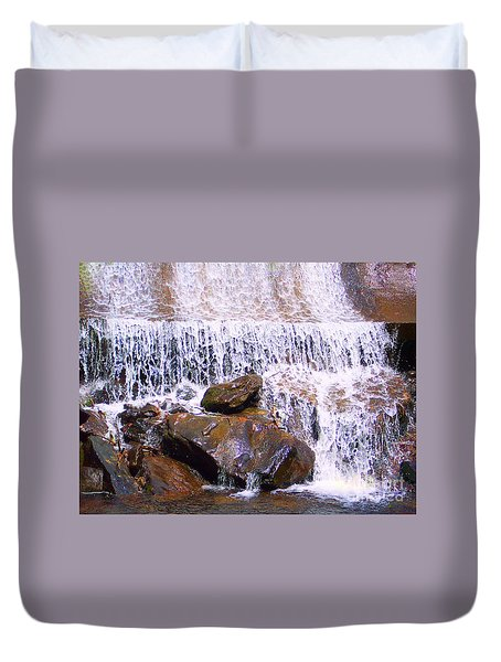 Duvet Cover featuring the photograph Water Cascade by Roberta Byram