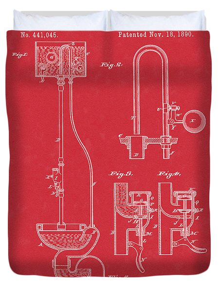 Water Closet Patent Art Red Duvet Cover