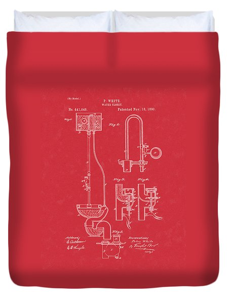 Water Closet Patent Art Red Duvet Cover