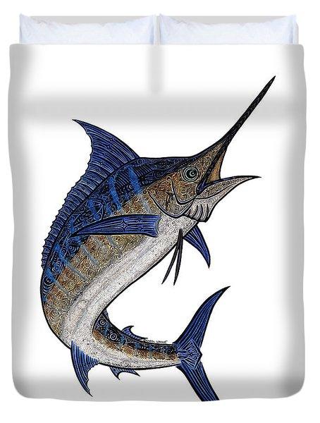 Water Color Tribal Marlin IIi Duvet Cover by Carol Lynne