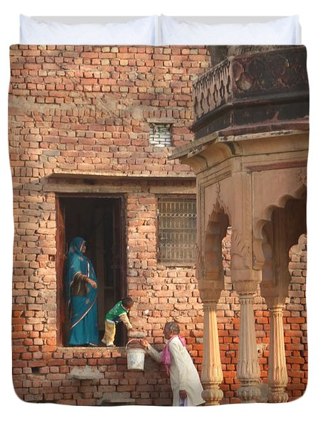 Duvet Cover featuring the photograph Water Delivery In Vrindavan by Jean luc Comperat