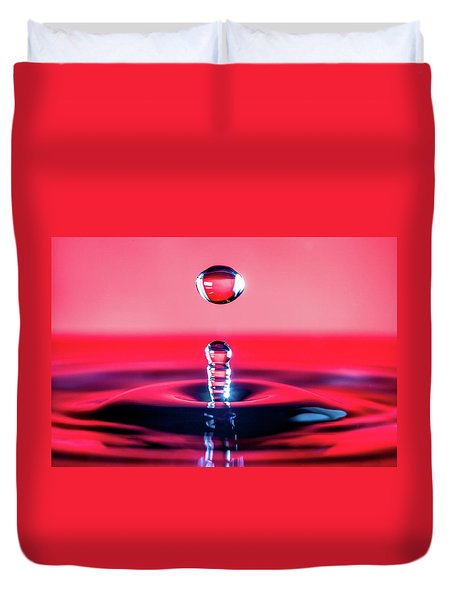Water Drop In Red Duvet Cover