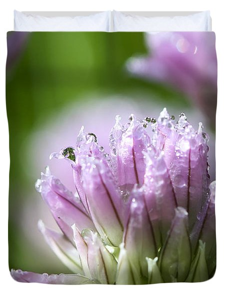 Water Droplets On Chives Flowers Duvet Cover