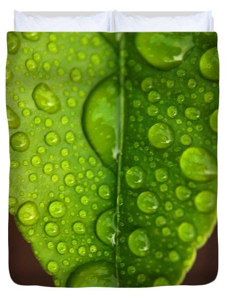 Water Droplets On Lemon Leaf Duvet Cover
