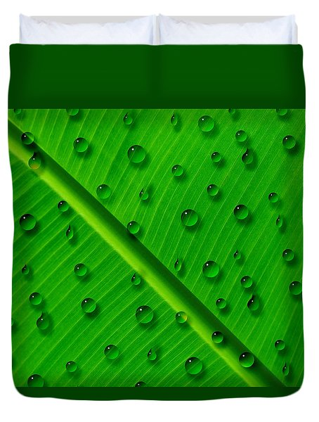 Duvet Cover featuring the painting Water Drops On Palm Leaf by Georgeta Blanaru