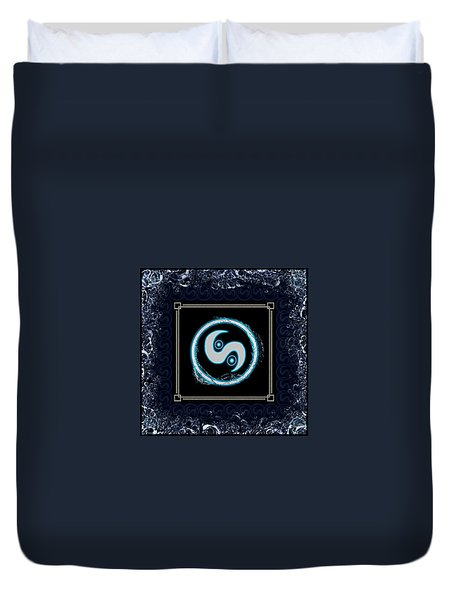 Duvet Cover featuring the digital art Water Emblem Sigil by Shawn Dall