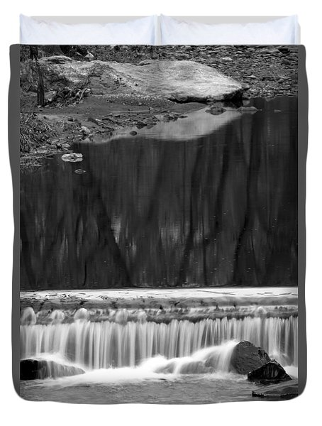 Duvet Cover featuring the photograph Water Fall And Reflexions by Dorin Adrian Berbier
