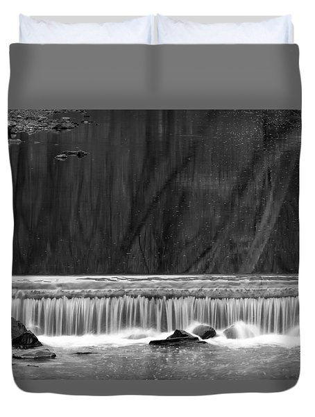 Duvet Cover featuring the photograph Water Fall In Black And White by Dorin Adrian Berbier