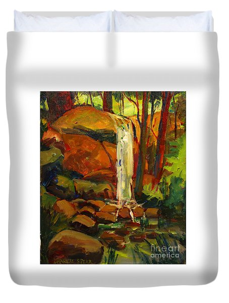 Water Fall In White Tail Reserve Duvet Cover