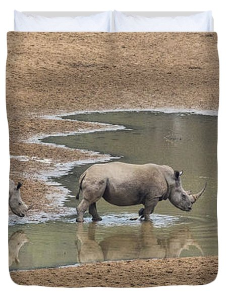 Water For Rhinos Duvet Cover