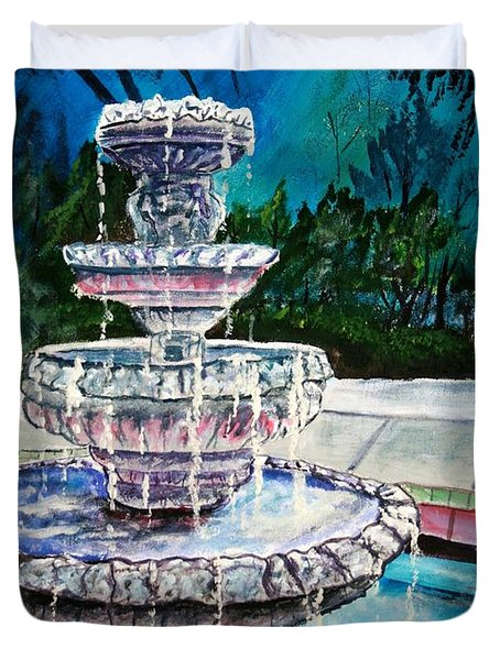 Water Fountain Acrylic Painting Art Print Duvet Cover by Derek Mccrea