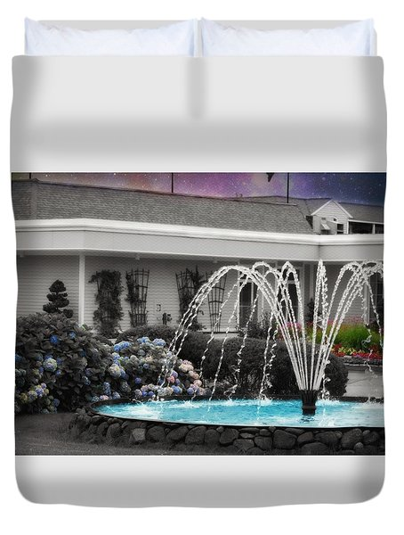Duvet Cover featuring the photograph Water Fountain by Robin Regan