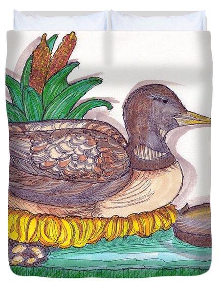Water Fowl Motif #1 Duvet Cover