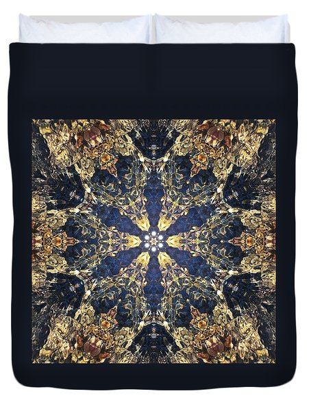 Duvet Cover featuring the mixed media Water Glimmer 3 by Derek Gedney