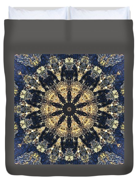 Duvet Cover featuring the mixed media Water Glimmer 4 by Derek Gedney