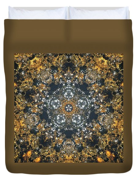 Duvet Cover featuring the mixed media Water Glimmer 5 by Derek Gedney