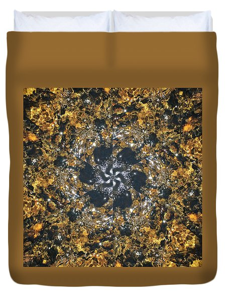 Duvet Cover featuring the mixed media Water Glimmer 6 by Derek Gedney