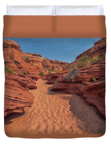 Water Hole Canyon Duvet Cover by David Cote