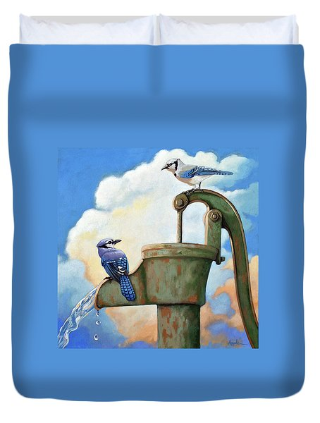 Duvet Cover featuring the painting Water Is Life #3 -blue Jays On Water Pump Painting by Linda Apple