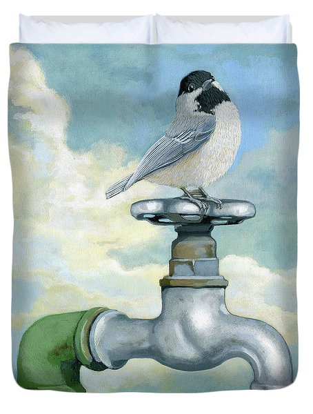 Duvet Cover featuring the painting Water Is Life - Realistic Painting by Linda Apple