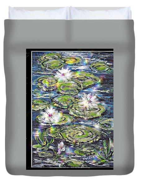 Water Lilies And Rainbows Duvet Cover