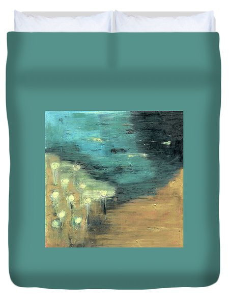 Duvet Cover featuring the painting Water Lilies At The Pond by Michal Mitak Mahgerefteh
