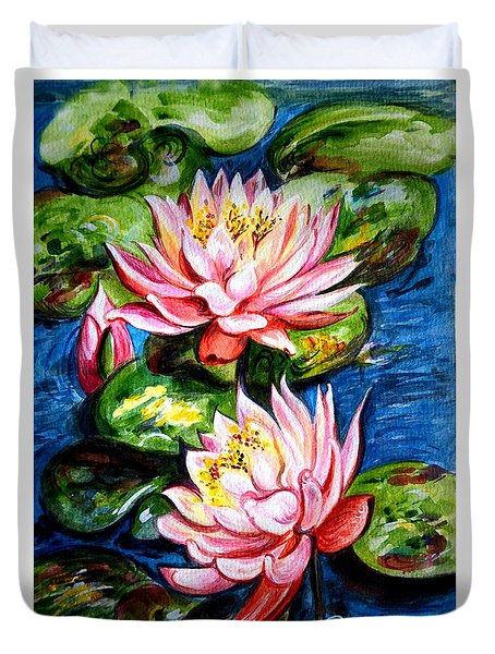 Water Lilies  Duvet Cover by Harsh Malik