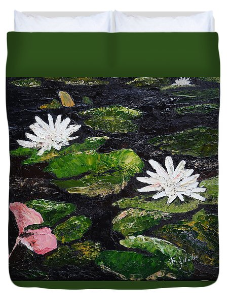Duvet Cover featuring the painting Water Lilies I by Marilyn Zalatan