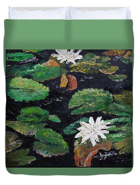 Duvet Cover featuring the painting water lilies II by Marilyn Zalatan