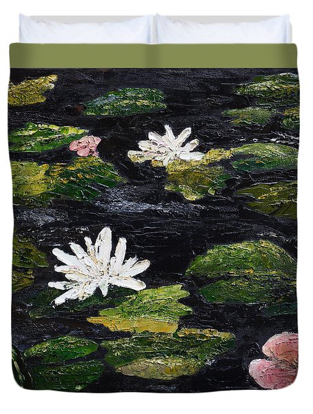 Duvet Cover featuring the painting Water Lilies IIi by Marilyn Zalatan
