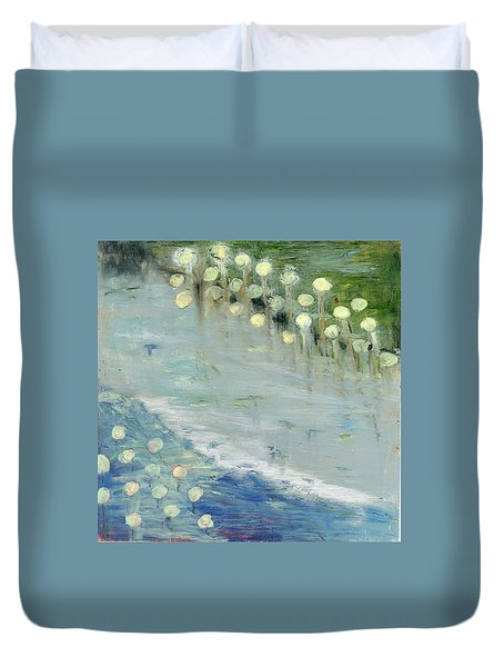 Duvet Cover featuring the painting Water Lilies by Michal Mitak Mahgerefteh