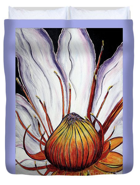 Duvet Cover featuring the painting Water Lilly  by Jolanta Anna Karolska