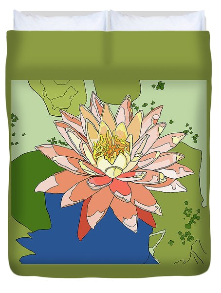Water Lily And Duck Weed Duvet Cover