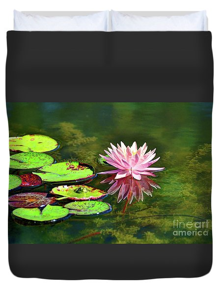 Water Lily And Frog Duvet Cover by Savannah Gibbs