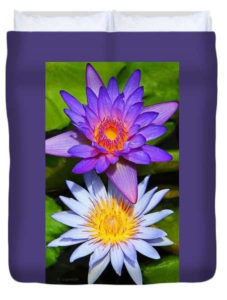 Water Lily Blossoms Duvet Cover