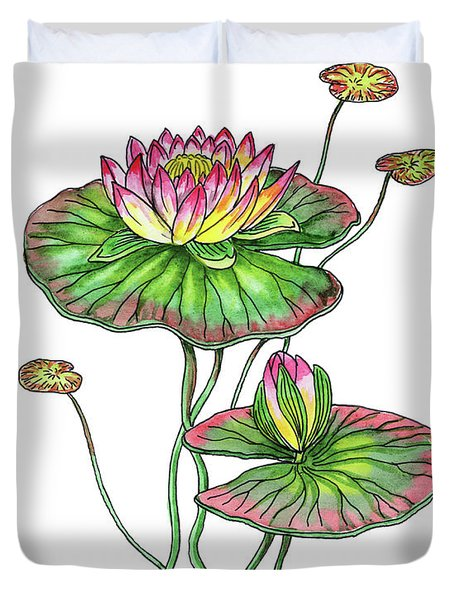 Water Lily Botanical Watercolor  Duvet Cover