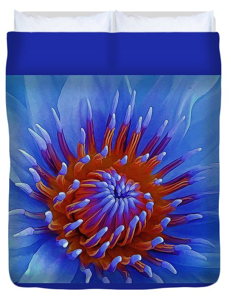Water Lily Center Duvet Cover by Pamela Walton