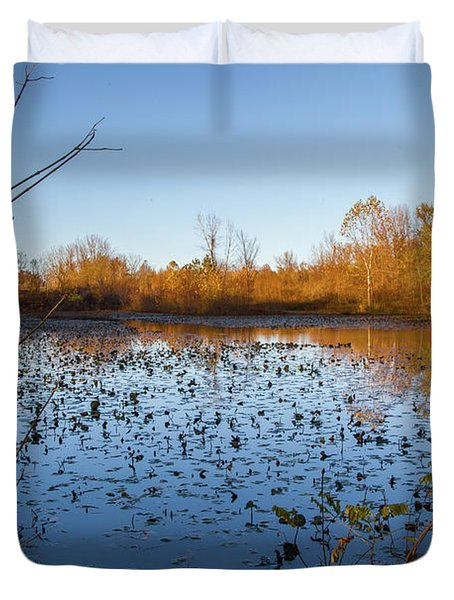 Water Lily Evening Serenade Duvet Cover