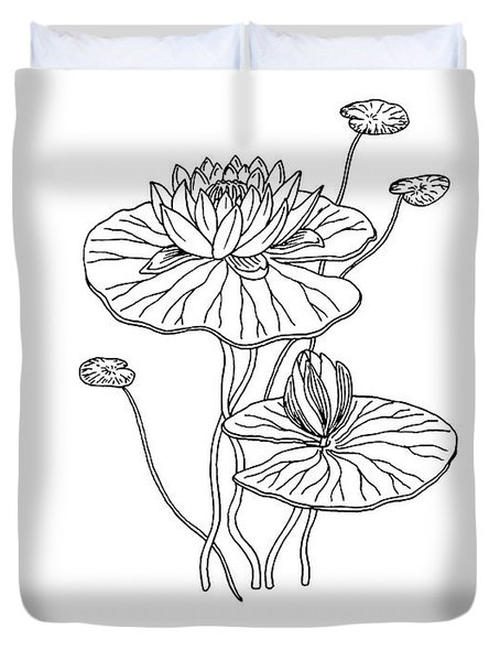 Water Lily Flower Botanical Drawing  Duvet Cover